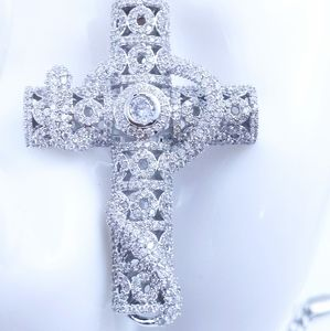 "Jewelry - Icy Silver Cross + 18"" Cuban Chain"